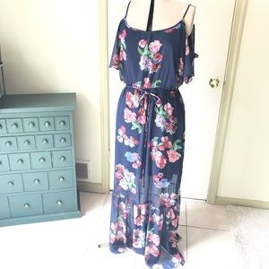 New York & Company Dresses - NY&Co Navy blue long dress with flowers